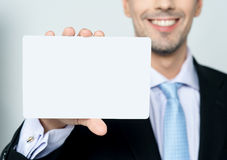 Man hand showing business card Stock Photography