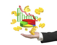 Man hand showing business growth graphs dollar signs euro symbol. Man hand showing 3D colorful business growth graphs with golden dollar signs and euro symbols Royalty Free Stock Photos