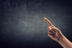 Man hand showing forefinger. Close of man hand pointing with finger Royalty Free Stock Photography