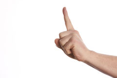 Man hand showing forefinger up. Number one sign in a white isolated background Royalty Free Stock Image