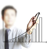 Man hand showing graph Stock Image