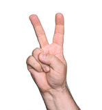 Man hand showing the sign of victory Stock Photography