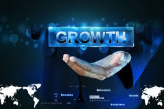 Man hand showing the word growth Stock Photo