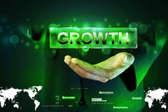 Man hand showing the word growth Stock Photography