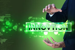 Man hand showing the word innovation Royalty Free Stock Images
