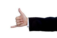 Man hand sign in suit  isolated Royalty Free Stock Photography