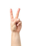 Man hand sign  on white background. two fingers raised up lifted up. Royalty Free Stock Photography