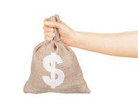 Man hand with small bag Royalty Free Stock Images