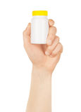 Man hand with small bottle Royalty Free Stock Images