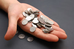 Man hand with small coins Stock Photography