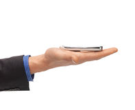 Man hand with smartphone Stock Images