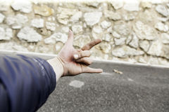 Man hand street gang. Hand of street man making gestures, symbol and people Royalty Free Stock Photos