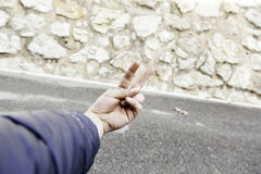 Man hand street gang. Hand of street man making gestures, symbol and people Stock Photography
