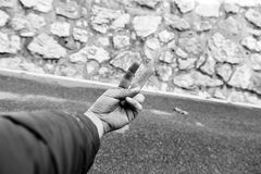Man hand street gang. Hand of street man making gestures, symbol and people Royalty Free Stock Photography