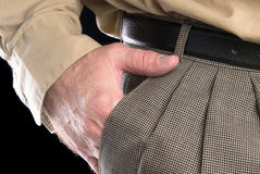 Man with hand in suit pocket Royalty Free Stock Photo