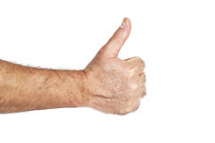 Man hand with thumb up Stock Images