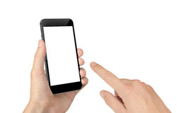 Man hand touch smart phone with isolated blank screen for mockup Stock Photography