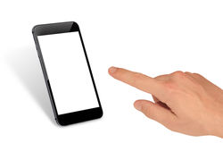 Man hand touch smart phone with isolated blank screen for mockup Royalty Free Stock Photography