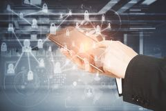 Man hand touchin digital tablet and technology interface royalty free stock photo