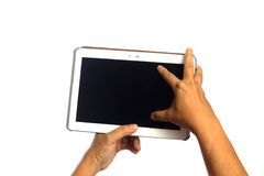 Man hand touching button on smartphone Stock Images