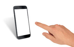 Man hand touching display of blacke isolated smart phone Stock Image