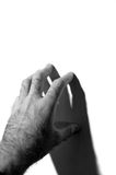 Man hand touching the wall Royalty Free Stock Photos