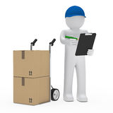 Man with hand truck and checklist. Package man with hand truck and checklist Stock Photos