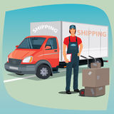Man with hand truck trolley and box truck Royalty Free Stock Photography
