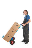 Man with hand truck Stock Images