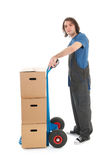 Man with hand truck Royalty Free Stock Photography