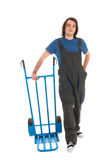 Man with hand truck Royalty Free Stock Image