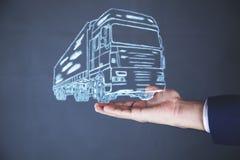 Man hand truck vector illustration