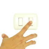 Man hand turn off light switch isolated on white background, Eco friendly concept Royalty Free Stock Images