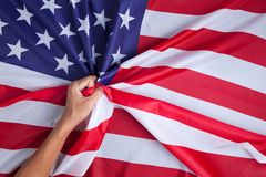 Man hand with United States of America flag. Royalty Free Stock Photography