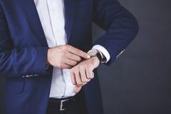 Man hand watch stock image