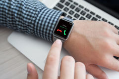 Free Man Hand With Watch And Phone Call On The Screen Stock Image - 59673021