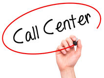 Man Hand writing Call Center with black marker on visual screen. Royalty Free Stock Images