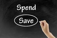 Man hand writing and choosing Save instead of Spend on blackboard. Business concept Royalty Free Stock Photos