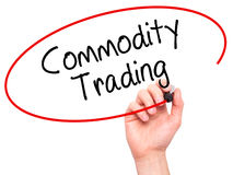 Man Hand writing Commodity Trading with black marker on visual s Royalty Free Stock Image
