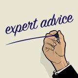 Man Hand writing Expert Advice Stock Photo