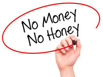 Man Hand writing No Money No Honey with black marker on visual s Stock Image