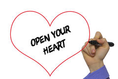Man Hand writing Open your heart with marker on transparent wipe. Board. Isolated on white Stock Photo