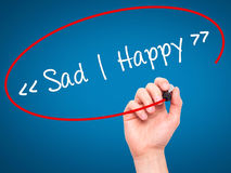 Man Hand writing Sad - Happy with black marker on visual screen. Royalty Free Stock Image