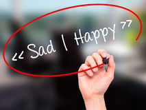 Man Hand writing Sad - Happy with black marker on visual screen. Royalty Free Stock Photography