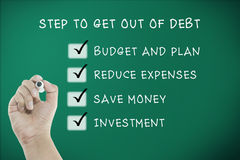 Man hand writing with step how to get out of debt Stock Image