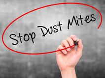 Man Hand writing Stop Dust Mites  with black marker on visual sc Stock Photography
