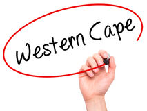 Man Hand writing Western Cape with black marker on visual screen Royalty Free Stock Images