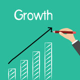 Man hand writing word, Growth, with drawing of rising statistic, vector Royalty Free Stock Photos
