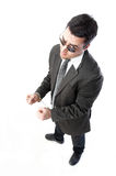 Man in handcuffs. Smart man in hand cuffs Royalty Free Stock Photography