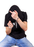 Man in Handcuffs shows Middle Finger Royalty Free Stock Photos